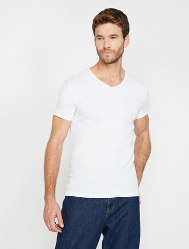 Koton V Yaka T-Shirt Beyaz